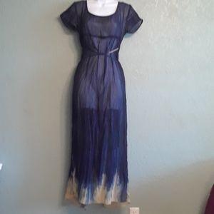 NWOT Vintage Esprit maxi dress. Blue cream dip…